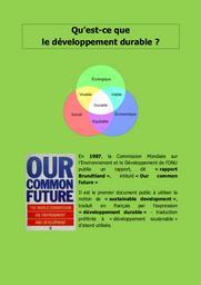 Qu'est-ce que le développement durable ? |